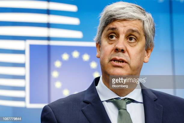 Mario Centeno, Portugal's finance minister and president of the Eurogroup, speaks during a news conference following a Eurogroup meeting in Brussels,...