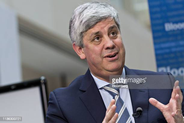 Mario Centeno, Portugal's finance minister and president of the Eurogroup, speaks during a Bloomberg Television interview at the spring meetings of...