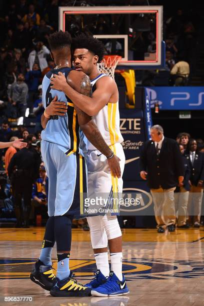 Mario Chalmers of the Memphis Grizzlies and Quinn Cook of the Golden State Warriors greet each other after the game on December 20 2017 at ORACLE...
