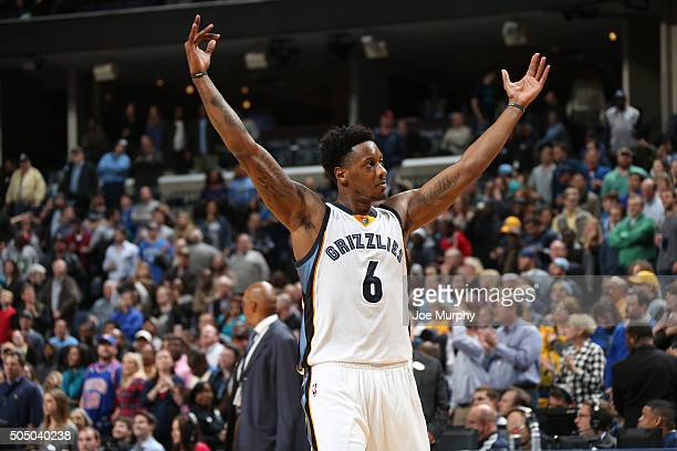Mario Chalmers of the Memphis Grizzlies celebrates after hitting the game winning shot against the Detroit Pistons on January 14 2016 at FedExForum...