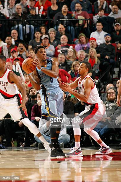 Mario Chalmers of the Memphis Grizzlies defends the ball against the Portland Trail Blazers during the game on January 4 2016 at Moda Center in...