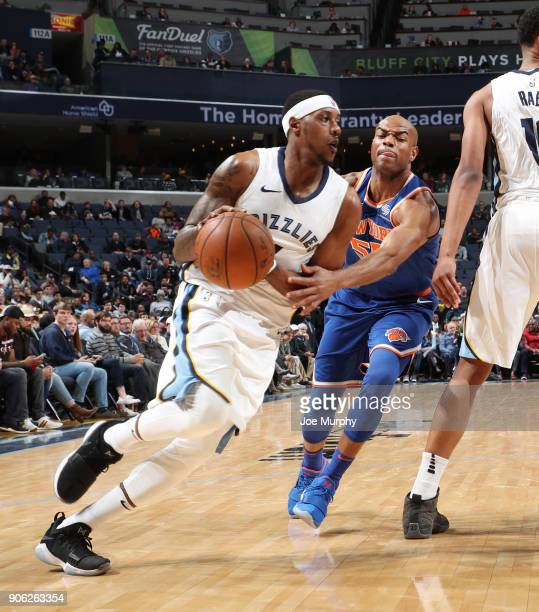 Mario Chalmers of the Memphis Grizzlies drives to the basket against Jarrett Jack of the New York Knicks on January 17 2018 at FedExForum in Memphis...