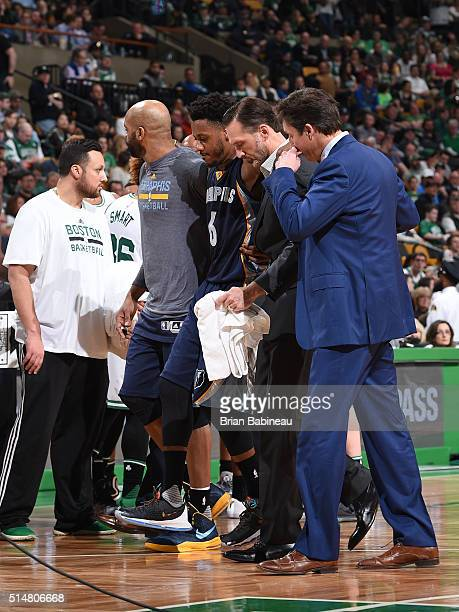 Mario Chalmers of the Memphis Grizzlies gets injured and walks off the court during the game against the Boston Celtics on March 9 2016 at the TD...