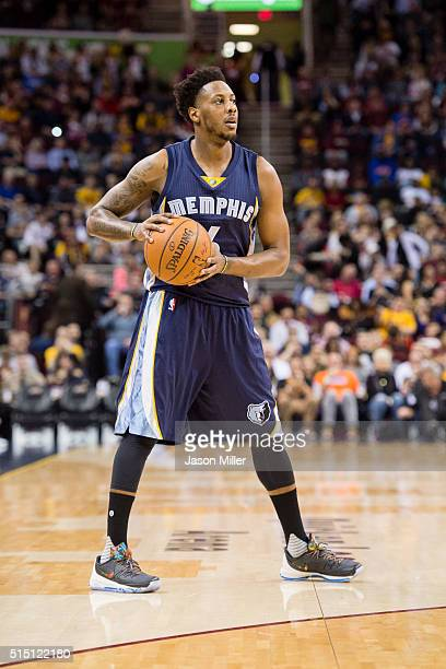 Mario Chalmers of the Memphis Grizzlies looks for a play during the first half against the Cleveland Cavaliers at Quicken Loans Arena on March 7 2016...