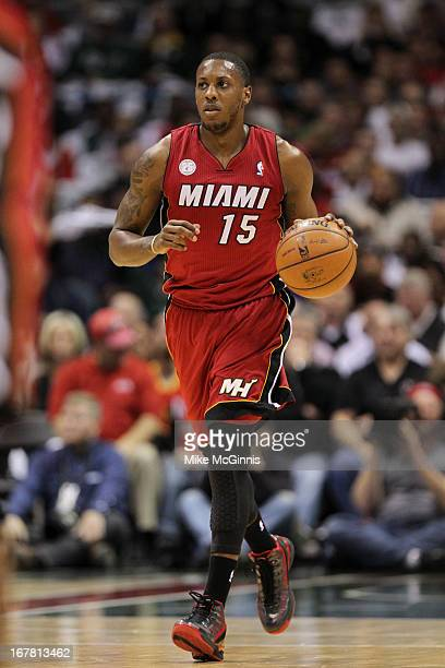 Mario Chalmers of the Miami Heat brings the ball up the court against the Milwaukee Bucks during Game Three of the Western Conference Quarterfinals...