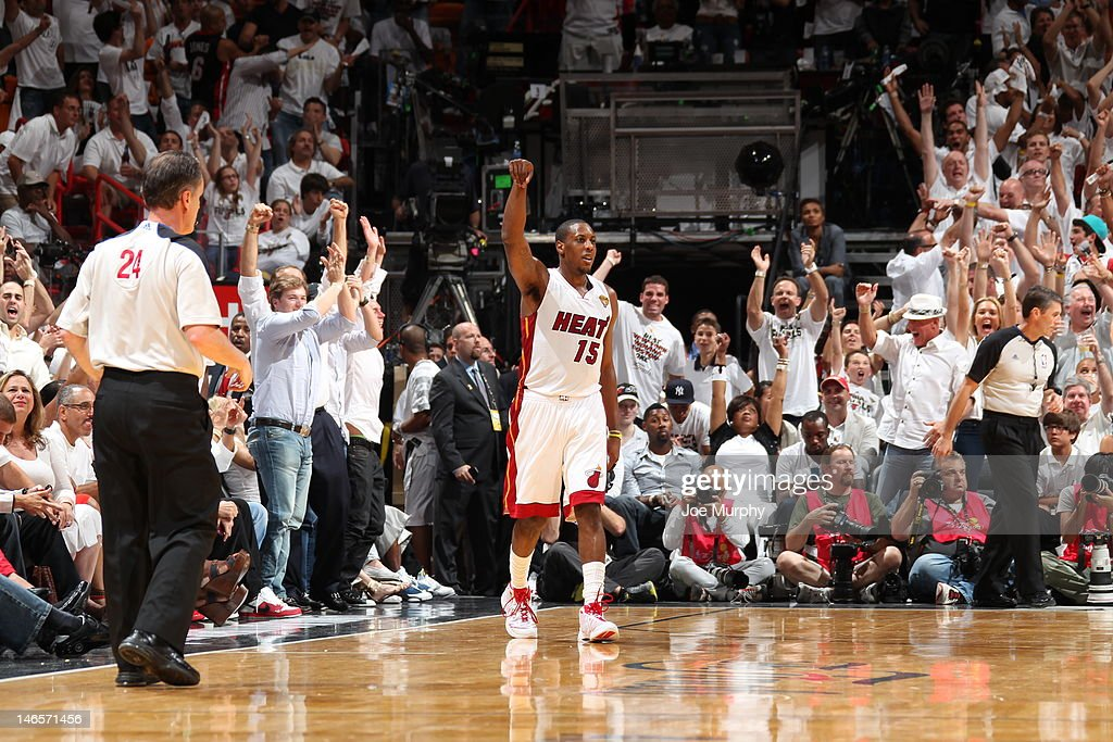 Mario Chalmers #15 of the Miami Heat celebrates during Game Four of the 2012 NBA Finals between the Miami Heat and the Oklahoma City Thunder at American Airlines Arena on June 19, 2012 in Miami, Florida.