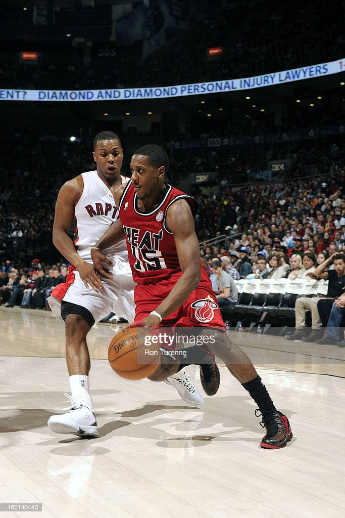 Mario Chalmers #15 of the Miami Heat drives to the basket against the Toronto Raptors on February 3, 2013 at the Air Canada Centre in Toronto, Ontario, Canada.