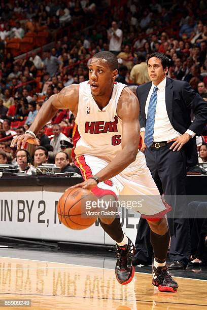 Mario Chalmers of the Miami Heat makes a move to the basket during the game against the Milwaukee Bucks at American Airlines Arena on March 28 2009...