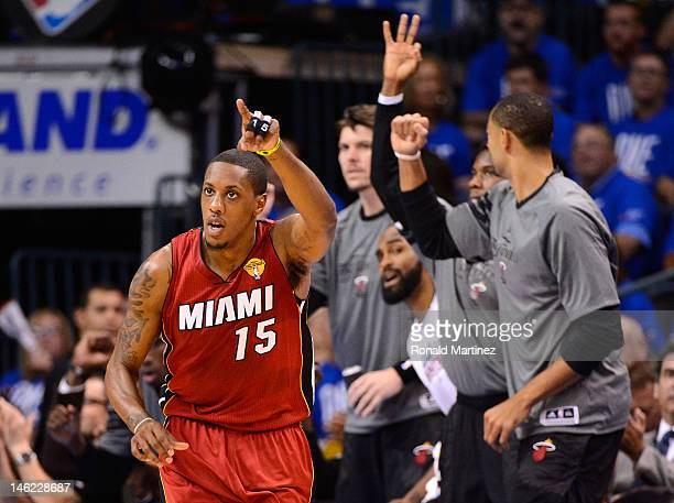 Mario Chalmers of the Miami Heat reacts after making a basket in the first quarter in Game One of the 2012 NBA Finals against the Oklahoma City...