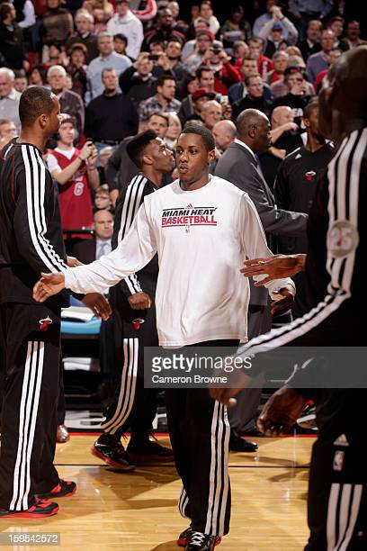 Mario Chalmers of the Miami Heat runs out before the game against the Portland Trail Blazers on January 10 2013 at the Rose Garden Arena in Portland...