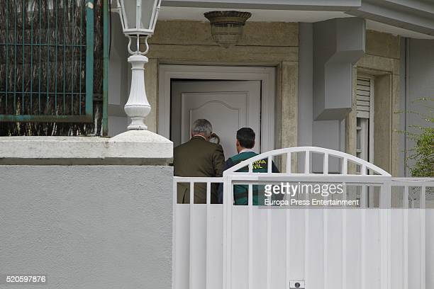 Mario Conde's lawyer Ignacio Pelaez arrives at Mario Conde's house during a registration at Mario Conde's house on April 11 2016 in Madrid Spain...