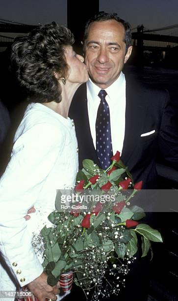 Mario Cuomo and wife Matilda Cuomo attend the birthday party for Mario Cuomo on July 17 1986 at the South Street Seaport in New York City