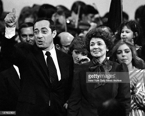 Mario Cuomo Inauguration Despite an exhaustive campaign Cuomo seems rarin' to go in new post with wife at his side he gives thumbsup sign