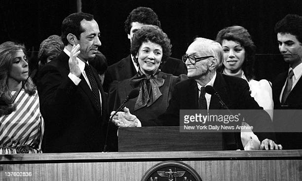 Mario Cuomo Inauguration Mario Cuomo is sworn in as 52d governor of New York by Judge Charles Desmond as Cuomo's wife Matilda looks on in Albany