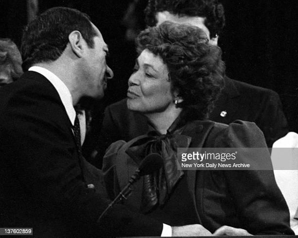 Mario Cuomo Inauguration Mario Cuomo kisses his wife Matilda