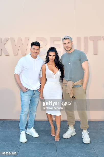 Mario Dedivanovic, Kim Kardashian West and Chris Appleton attend KKW Beauty Fan Event at KKW Beauty on June 30, 2018 in Los Angeles, California.