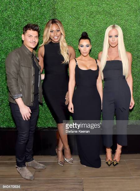 Mario Dedivanovic, Laverne Cox, Kim Kardashian West and Gigi Gorgeous attend KKWxMario Dinner at Jean-Georges Beverly Hills on March 31, 2018 in...