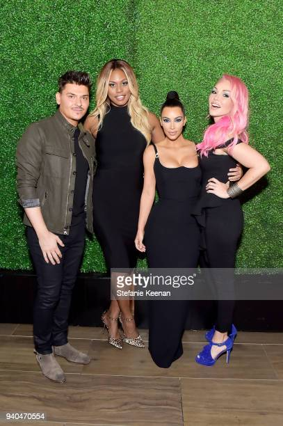 Mario Dedivanovic Laverne Cox Kim Kardashian West and Gigi Gorgeous attend KKWxMario Dinner at JeanGeorges Beverly Hills on March 31 2018 in Beverly...