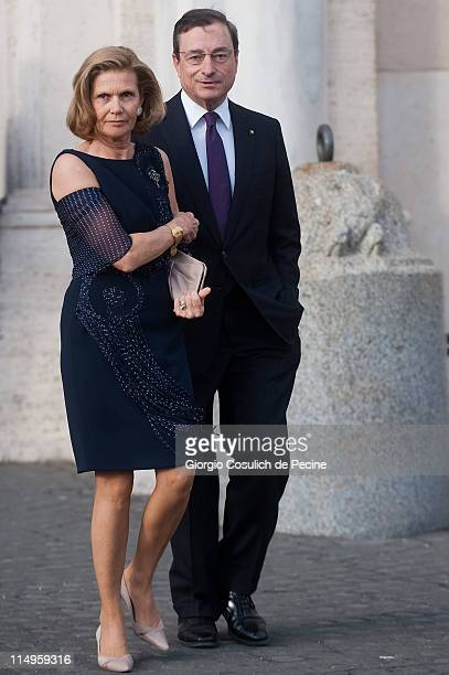 Mario Draghi and wife arrives at the Quirinale Palace to attend the Annual Party hosted by Italy's President Giorgio Napolitano on May 31, 2011 in...