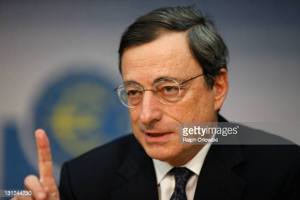 Mario Draghi, new President of the European Central Bank , speaks to the media following the first meeting of the ECB Governing Council with Draghi...