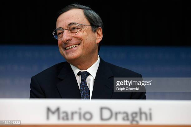 Mario Draghi new President of the European Central Bank speaks to the media following the first meeting of the ECB Governing Council with Draghi at...