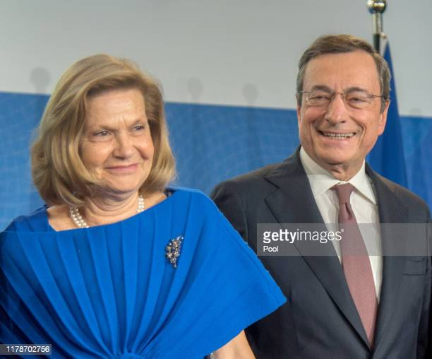 Mario Draghi, outgoing president of the European Central Bank and his wife Serena Draghi during a farewell ceremony for Mario Draghi at the...