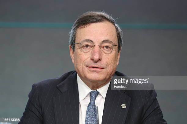 Mario Draghi President ECB speaks at a press conference following the Eurogroup meeting of ECOFIN Ministers at Dublin Castle on April 12 2013 in...