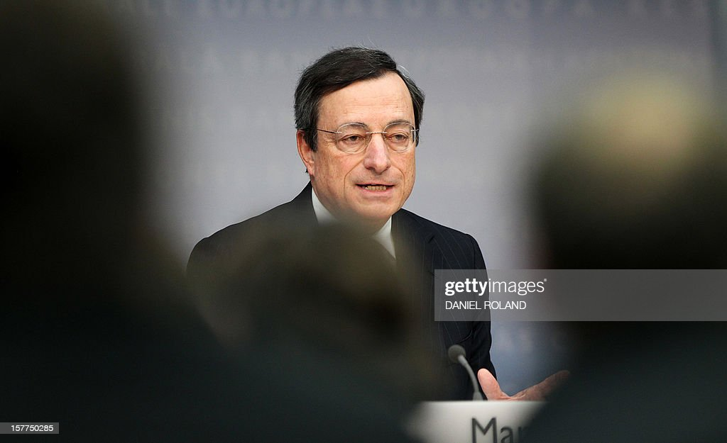 Mario Draghi, President of the European Central Bank, (ECB) addresses the media during a press conference following the meeting of the Governing Council in Frankfurt/Main, on December 6, 2012. The European Central Bank's decision Thursday to leave its interest rates unchanged at their current historic lows of 0.75 percent was not carried unanimously, ECB chief Mario Draghi revealed.
