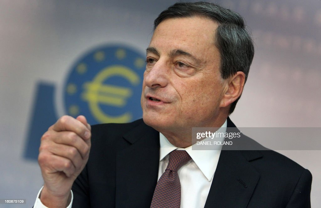 Mario Draghi, President of the European Central Bank (ECB), addresses the media during a press conference following the meeting of the Governing Council in Frankfurt am Main, western Germany, on February 7, 2013. The ECB held its key interest rates unchanged at its policy meeting despite French concerns that the euro's recent strong rise could pose a threat to economic recovery.