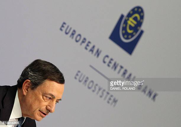 Mario Draghi President of the European Central Bank addresses the media during a press conference following the meeting of the Governing Council in...