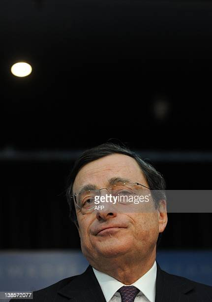 Mario Draghi President of the European Central Bank addresses the media during the press conference following a meeting of the ECB Governing Council...