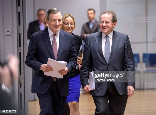 Mario Draghi President of the European Central Bank and his Vicepresident Vitor Constancio arrive for the press conference following a meeting of the...