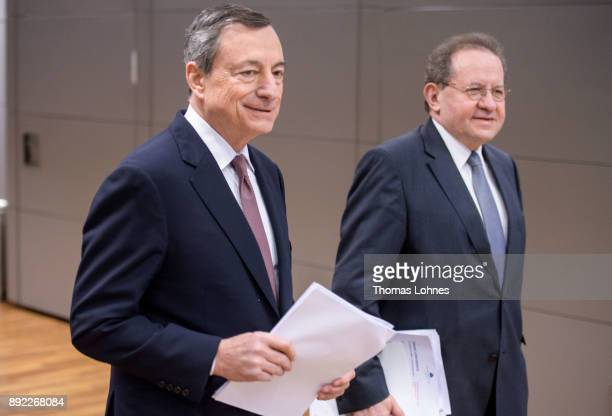 Mario Draghi President of the European Central Bank and his Vicepesident Vitor Constancio arrive for the press conference following a meeting of the...