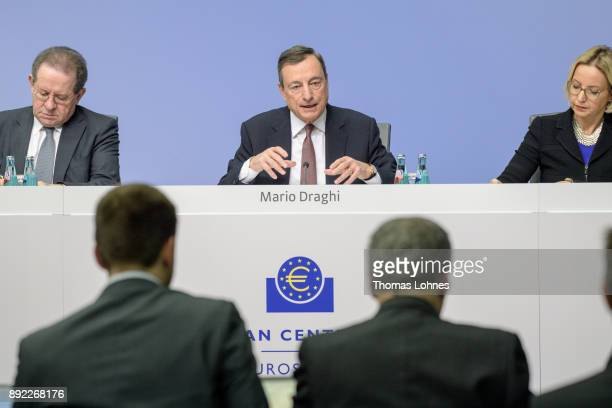 Mario Draghi President of the European Central Bank and his Vicepresident Vitor Constancio speak to the media following a meeting of the ECB...