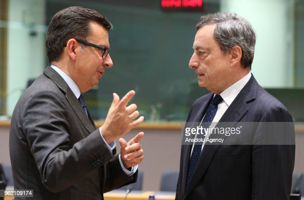 Mario Draghi President of the European Central Bank and Spanish Finance Minister Roman Escolano attend the Eurogroup ministers' meeting in Brussels...