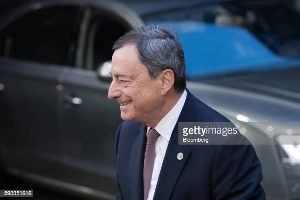 Mario Draghi president of the European Central Bank arrives at a summit of 27 European Union leaders in Brussels Belgium on Friday Dec 15 2017 With...