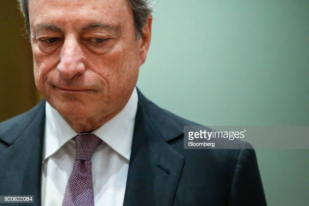 Mario Draghi president of the European Central Bank arrives for a Eurogroup finance ministers meeting in Brussels Belgium on Monday Feb 2018 Euroarea...