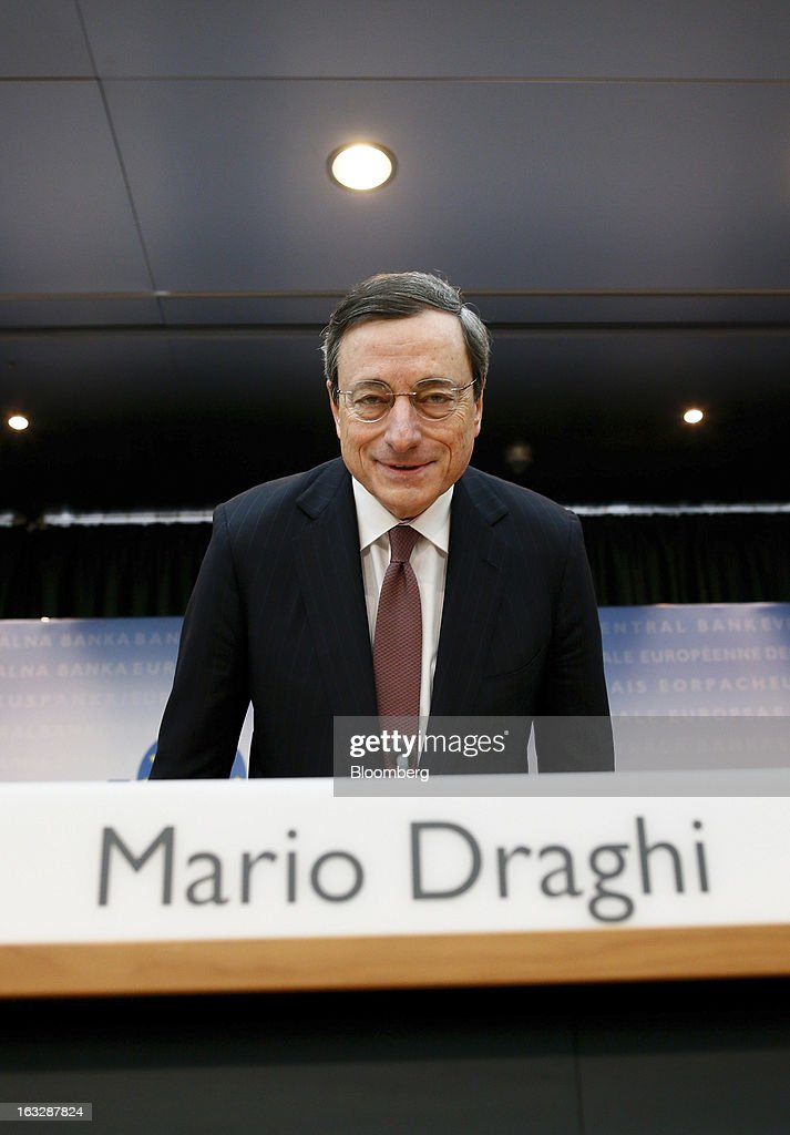 Mario Draghi, president of the European Central Bank (ECB), arrives to attend a news conference at the bank's headquarters in Frankfurt, Germany, on Thursday, March 7, 2013. Draghi stuck to his view that the euro-area economy will gradually recover later this year as policy makers trimmed their economic and inflation forecasts. Photographer: Ralph Orlowski/Bloomberg via Getty Images