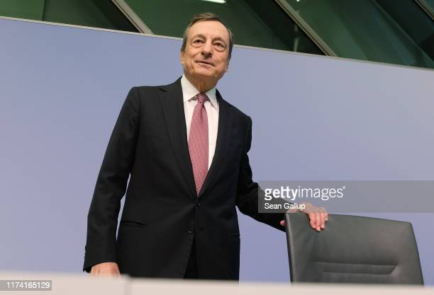 Mario Draghi President of the European Central Bank arrives to speak to the media following a meeting of the ECB governing board on September 12 2019...