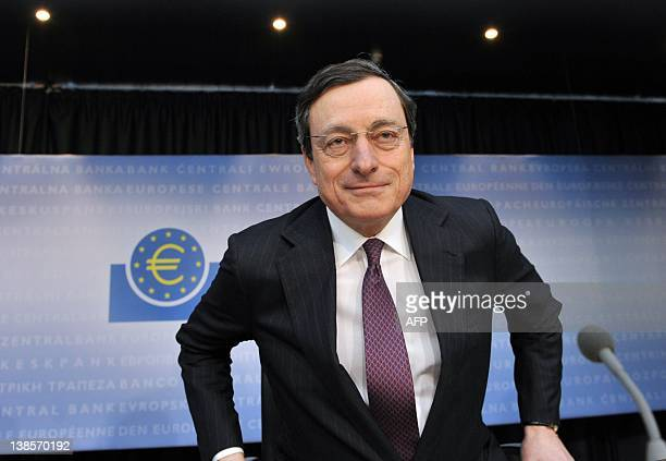 Mario Draghi President of the European Central Bank arrives to address the media during the press conference following a meeting of the ECB Governing...