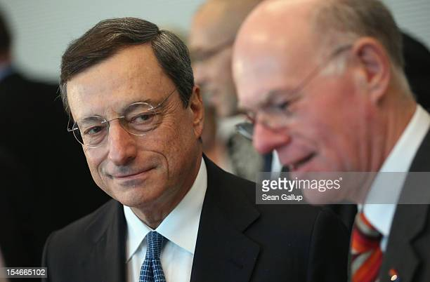 Mario Draghi President of the European Central Bank arrives with Bundestag President Norbert Lammert at the Bundestag to speak to German...