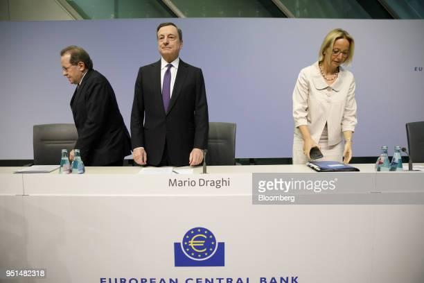 Mario Draghi president of the European Central Bank center arrives with Vitor Constancio vice president of the European Central Bank left and...