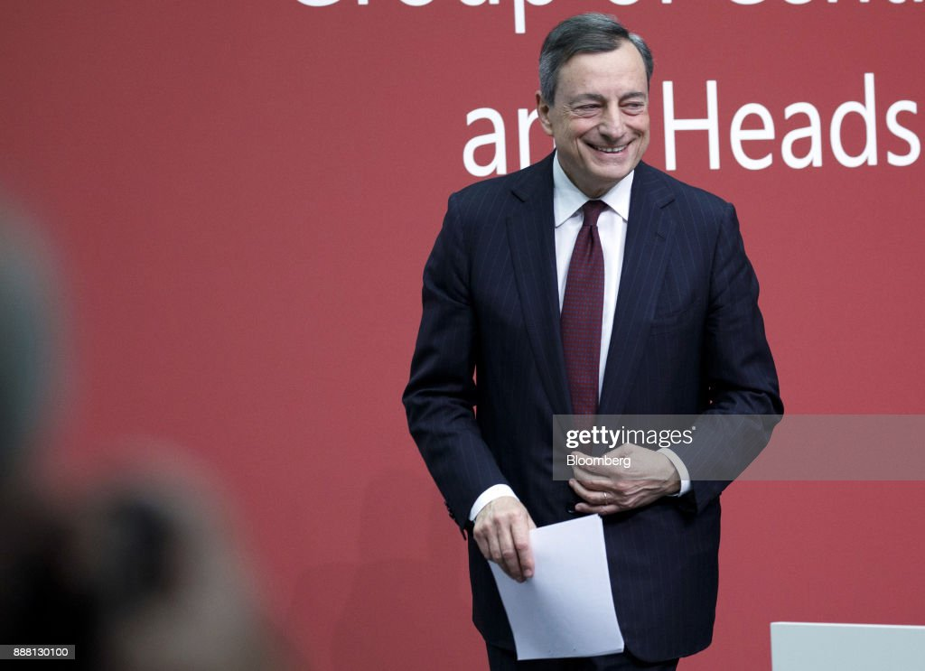 Mario Draghi, president of the European Central Bank (ECB), departs a Basel III capital rules news conference at the ECB headquarters in Frankfurt, Germany, on Thursday, Dec. 7, 2017. Big European mortgage lenders in low-risk markets may be the hardest hit by new capital rules that global regulators are expected to complete this week after a year-long deadlock. Photographer: Alex Kraus/Bloomberg via Getty Images