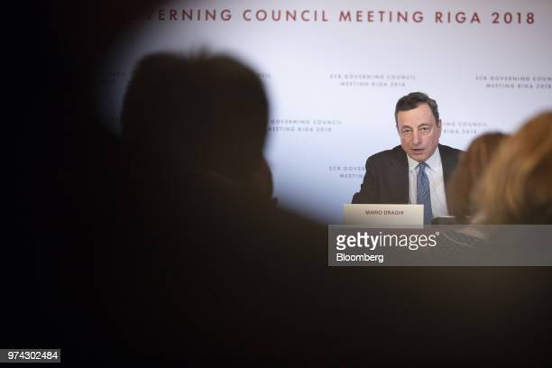Mario Draghi president of the European Central Bank during the ECB rate decision news conference at the Latvian central bank also known as Latvijas...