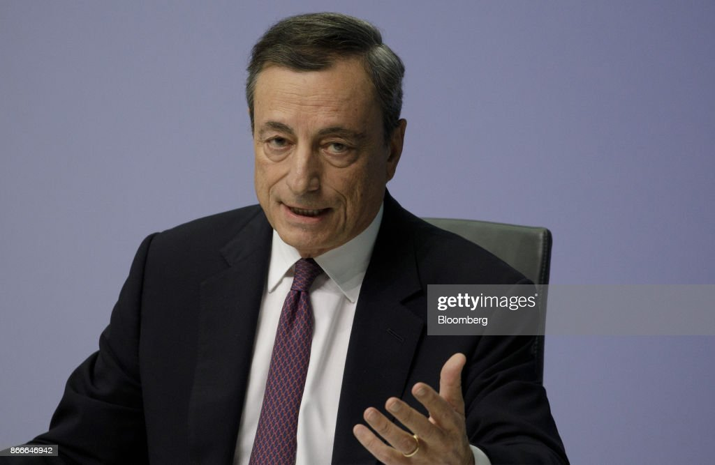 European Central Bank Rate Decision News Conference As President Draghi Heads For Stimulus Exit  : News Photo
