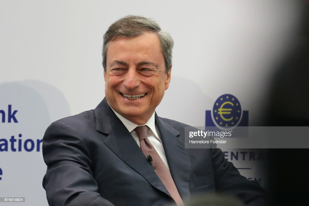 Mario Draghi, President of the European Central Bank (ECB), in a panel to discuss central bank communication on November 14, 2017 in Frankfurt, Germany. The event, which is taking place at European Central Bank headquarters, is part of a two-day conference on central bank communication.