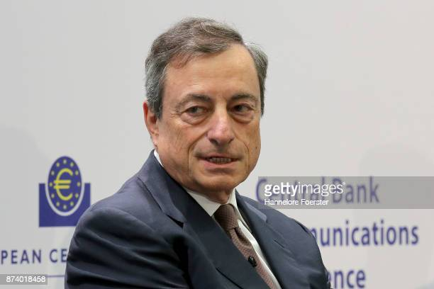Mario Draghi President of the European Central Bank in a panel to discuss central bank communication on November 14 2017 in Frankfurt Germany The...