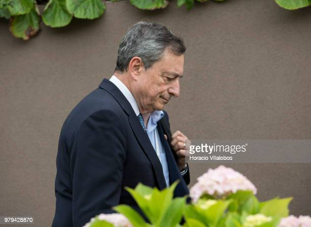 Mario Draghi President of the European Central Bank leaves at the end of the afternoon discussion session during the last day of ECB Forum on Central...