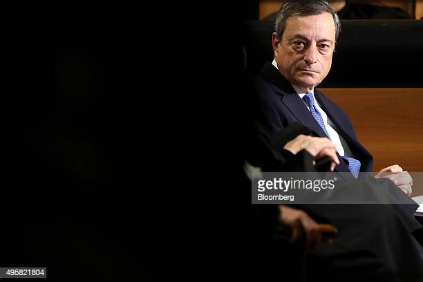 Mario Draghi president of the European Central Bank looks on during the opening of the academic year at the Universita Cattolica in Milan Italy on...