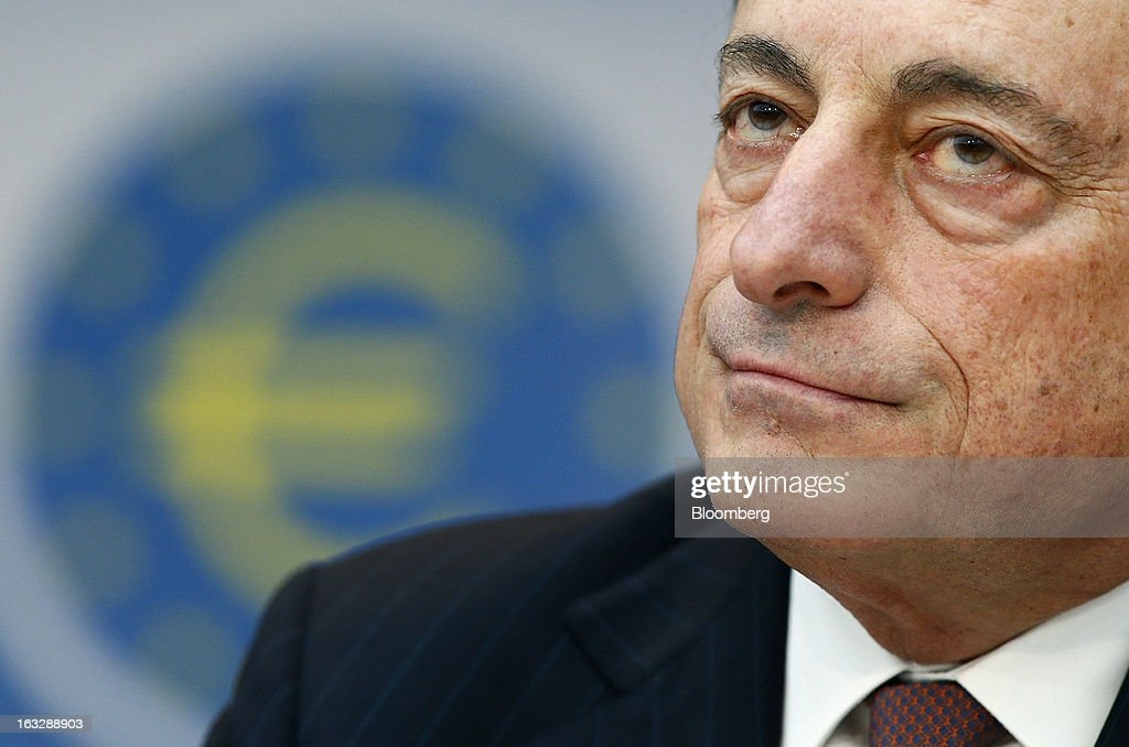 Mario Draghi, president of the European Central Bank (ECB), pauses during a news conference at the bank's headquarters in Frankfurt, Germany, on Thursday, March 7, 2013. Draghi stuck to his view that the euro-area economy will gradually recover later this year as policy makers trimmed their economic and inflation forecasts. Photographer: Ralph Orlowski/Bloomberg via Getty Images